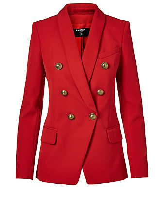 BALMAIN Wool Double-Breasted Blazer With Oversized Buttons Women's Red