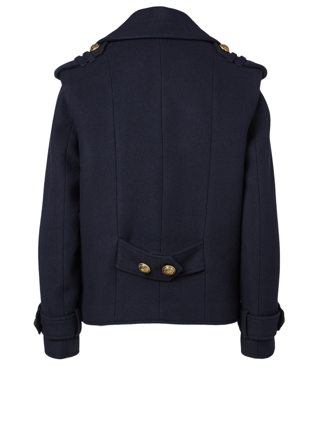 BALMAIN Wool And Cashmere Pea Coat Women's Blue
