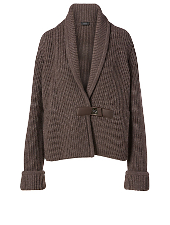 AKRIS Cashmere Ribbed Knit Cardigan With Buckle Women's Neutral