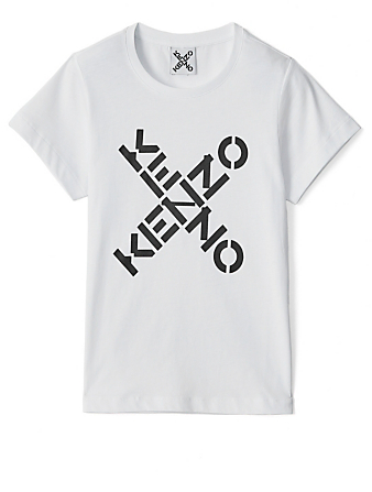 KENZO Cotton T-Shirt With Crisscross Logo Women's White