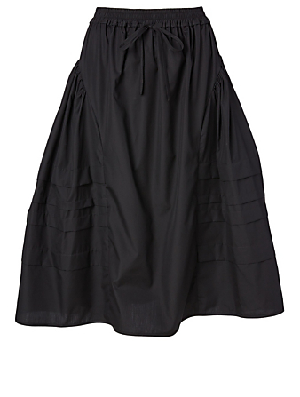 CECILIE BAHNSEN Mandy Cotton Midi Skirt Women's Black