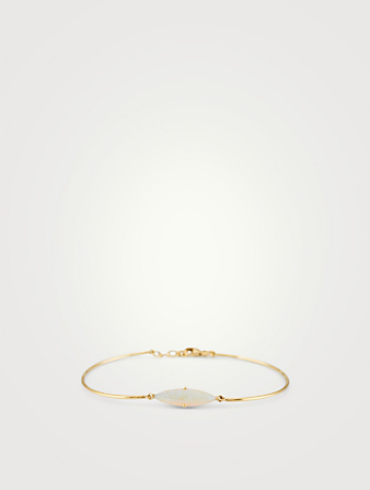 YI COLLECTION 18K Gold Bangle Bracelet With Marquise Opal Women's Metallic