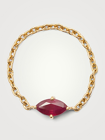YI COLLECTION 18K Gold Chain Ring With Marquise Ruby Women's Metallic