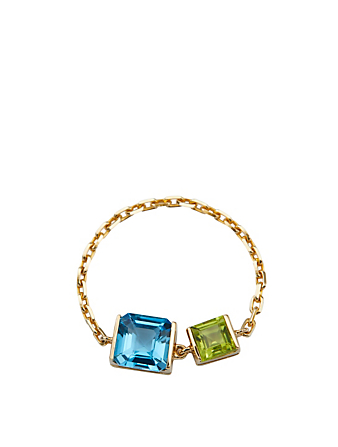 YI COLLECTION 18K Gold Chain Ring With Topaz And Peridot Women's Metallic