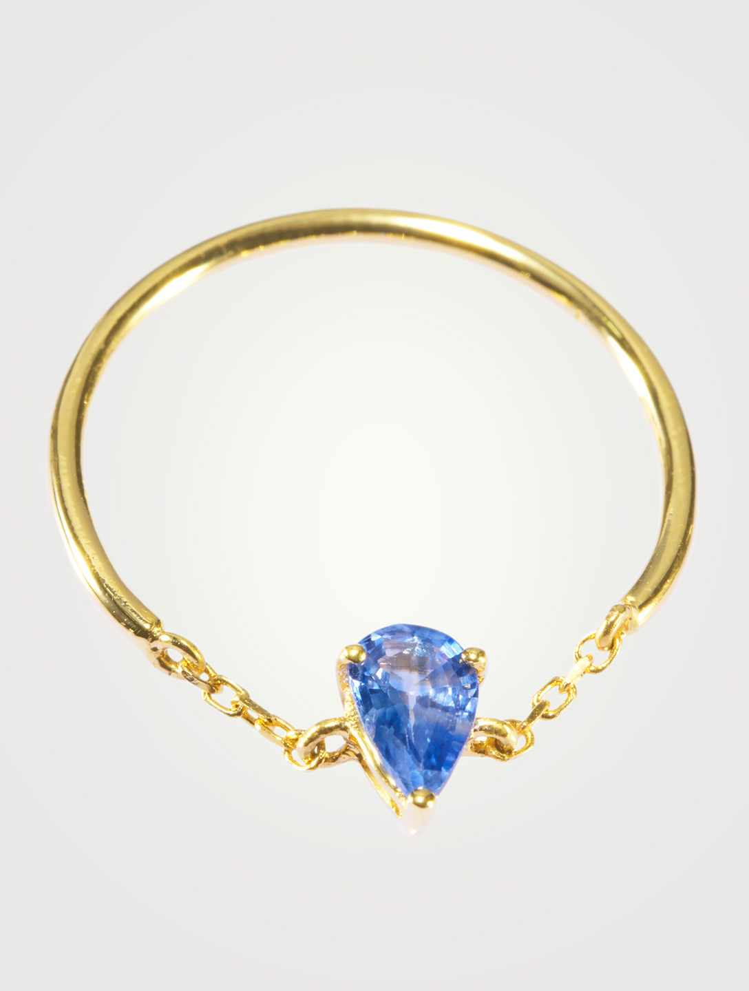 YI COLLECTION 18K Gold Half Chain Ring With Teardrop Sapphire Women's Metallic