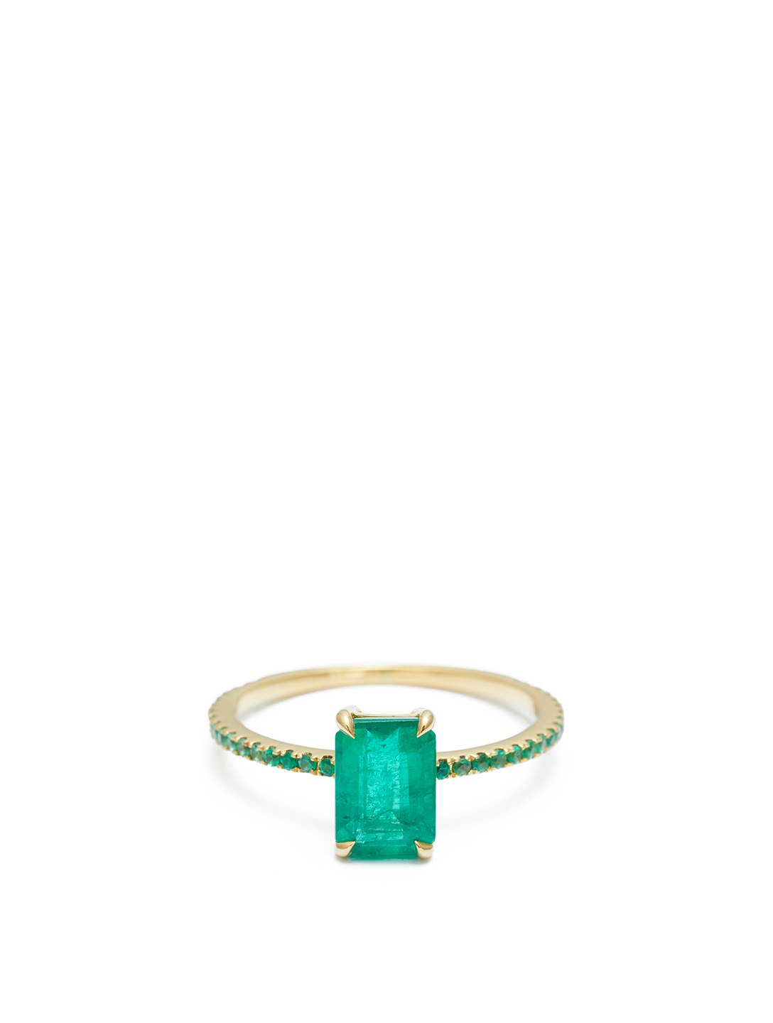YI COLLECTION 18K Gold Emerald Spring Ring Women's Metallic
