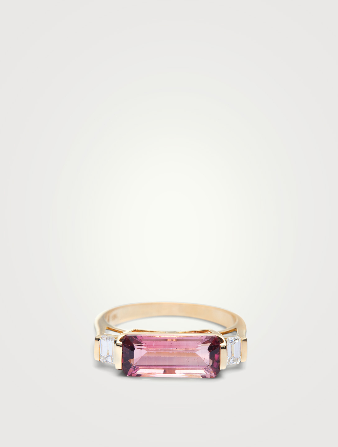 YI COLLECTION 18K Gold East West Ring Pink Tourmaline And Diamonds Women's Metallic