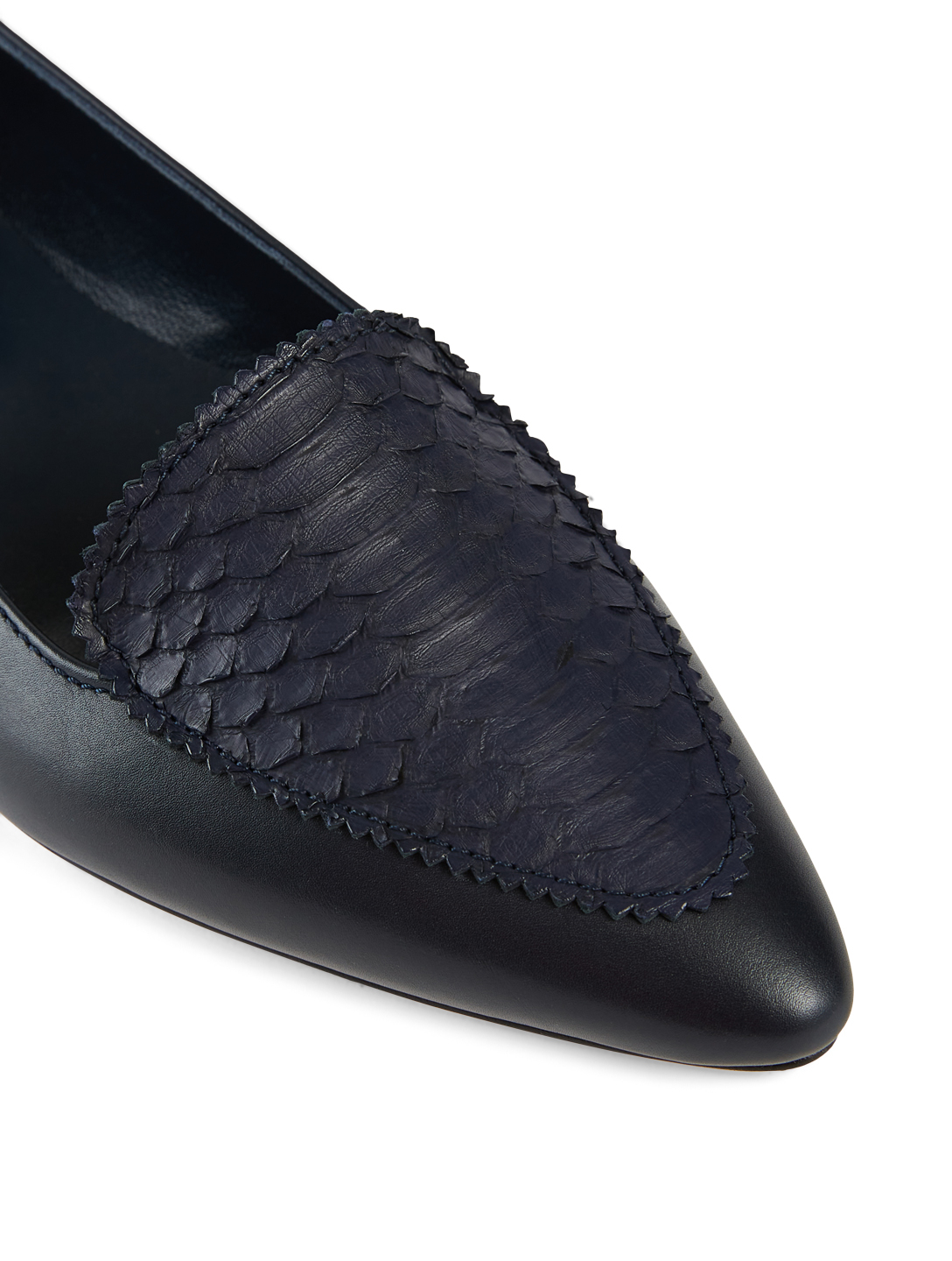 MANOLO BLAHNIK Agos Leather And Snakeskin Loafers Women's Blue