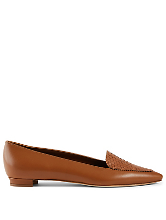 MANOLO BLAHNIK Agos Leather And Snakeskin Loafers Women's Brown