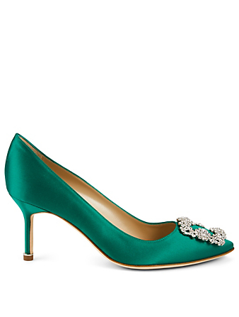 MANOLO BLAHNIK Hangisi 70  Satin Pumps Women's Green