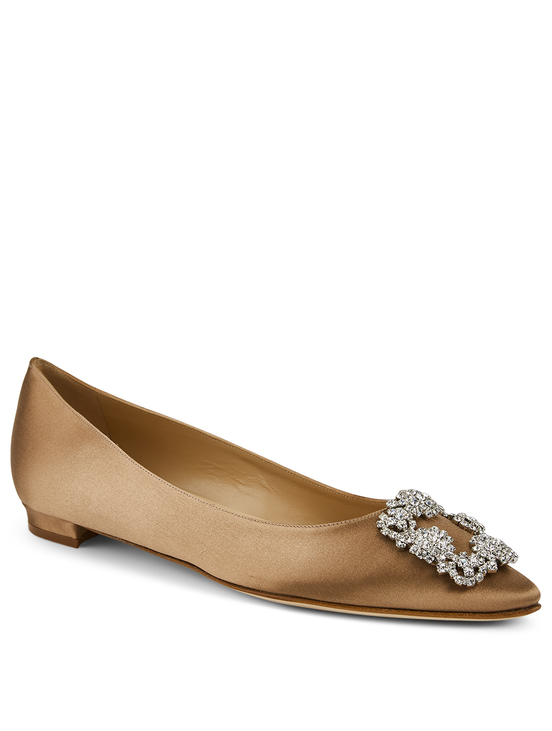 MANOLO BLAHNIK Hangisi Satin Flats Women's Brown