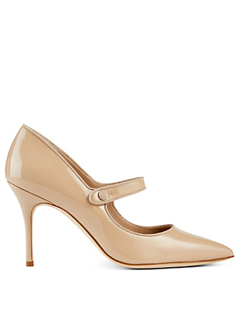MANOLO BLAHNIK Campaine Patent Mary Jane Pumps Women's Neutral