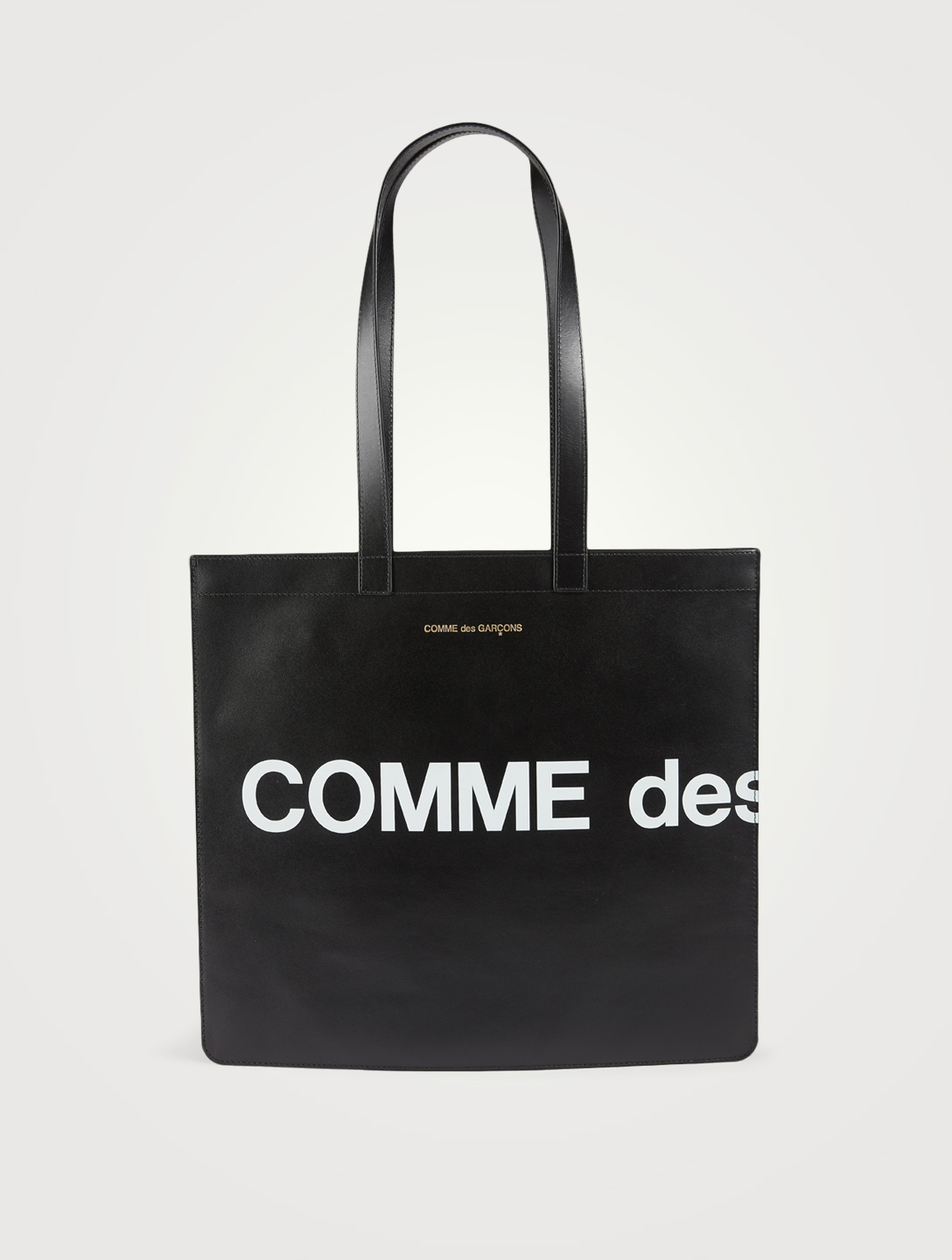 COMME DES GARÇONS WALLETS Huge Logo Leather Tote Bag Men's Black