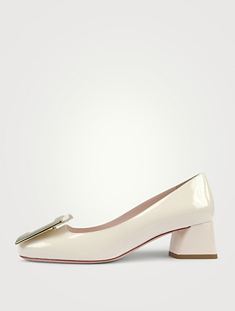 ROGER VIVIER Très Vivier 45 Patent Leather Pumps Women's White