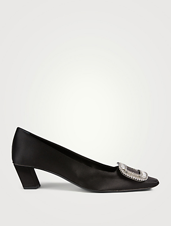 ROGER VIVIER Belle Vivier Strass Satin Pumps Women's Black