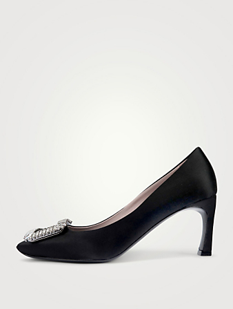 ROGER VIVIER Belle Vivier Trompette Crystal 70 Satin Pumps Women's Black
