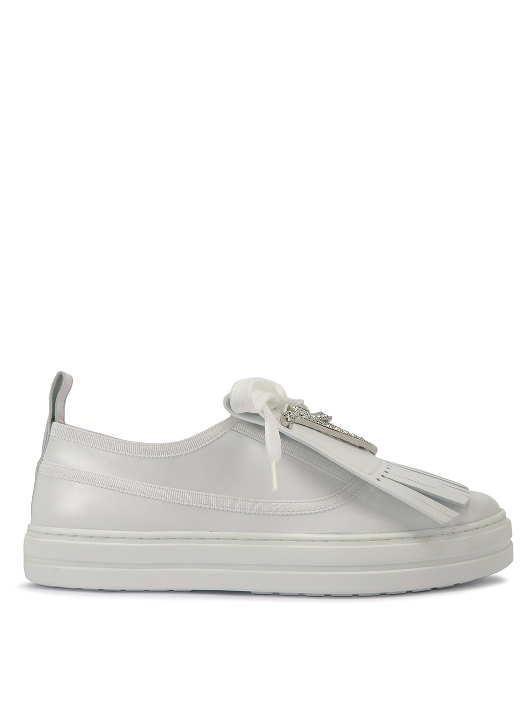 ROGER VIVIER Call Me RV Strass Leather Sneakers Women's White