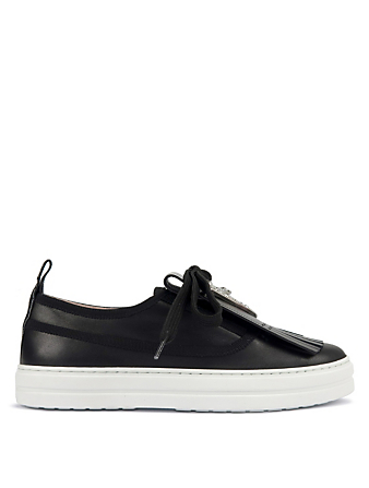 ROGER VIVIER Call Me RV Strass Leather Sneakers Women's Black