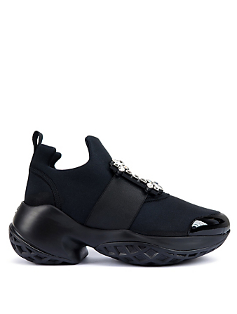 ROGER VIVIER Viv' Run Strass Neoprene Sneakers Women's Black