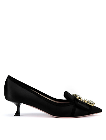 ROGER VIVIER Broche Vivier Decollete 45 Satin Pumps Women's Black