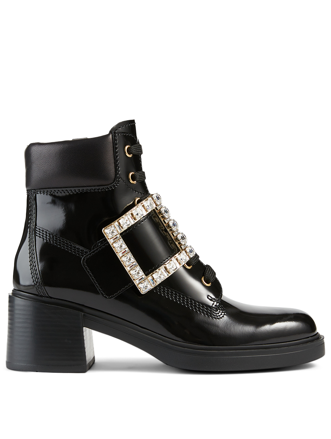 ROGER VIVIER Viv' Rangers Strass Leather Lace-Up Heeled Ankle Boots Women's Black