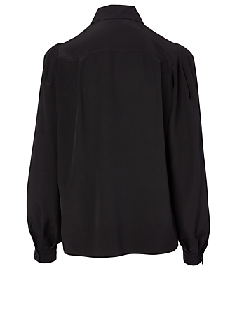GIVENCHY Silk Shirt With Chain Collar Women's Black