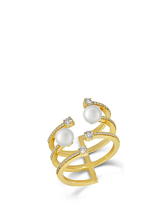 HUEB Spectrum 18K Gold Ring With Diamonds And Pearl Women's Metallic