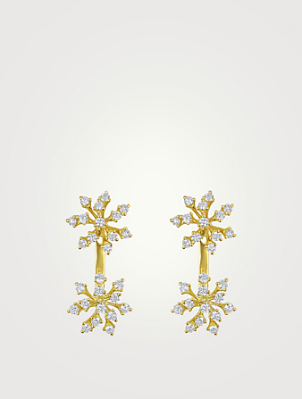 HUEB Luminus 18K Gold Double Snowflake Earrings With Diamonds Women's Metallic