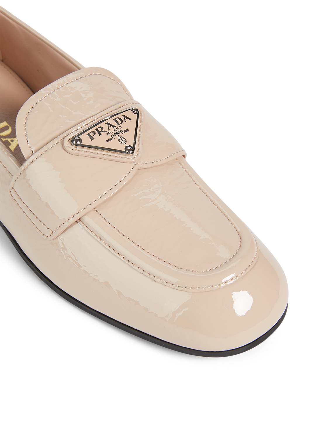 PRADA Patent Leather Logo Loafers Women's Neutral