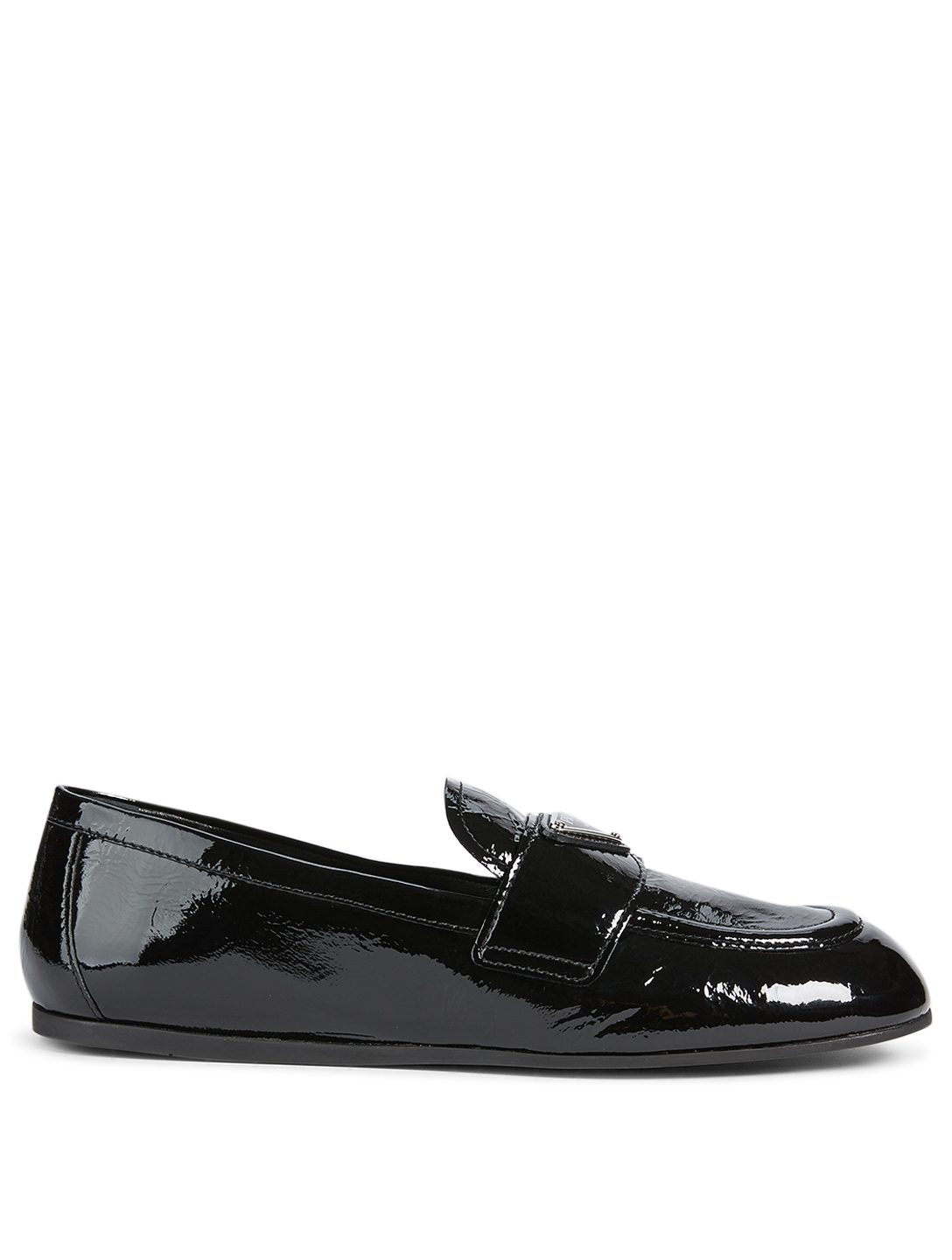 PRADA Patent Leather Logo Loafers Women's Black