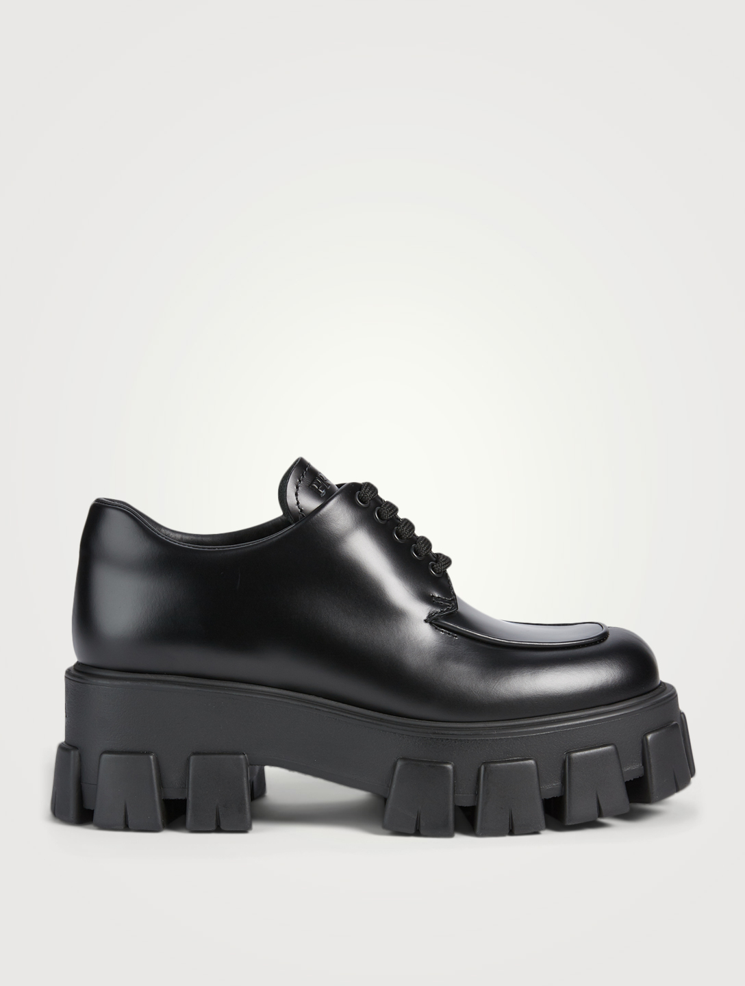 PRADA Monolith Leather Lace-Up Shoes Women's Black