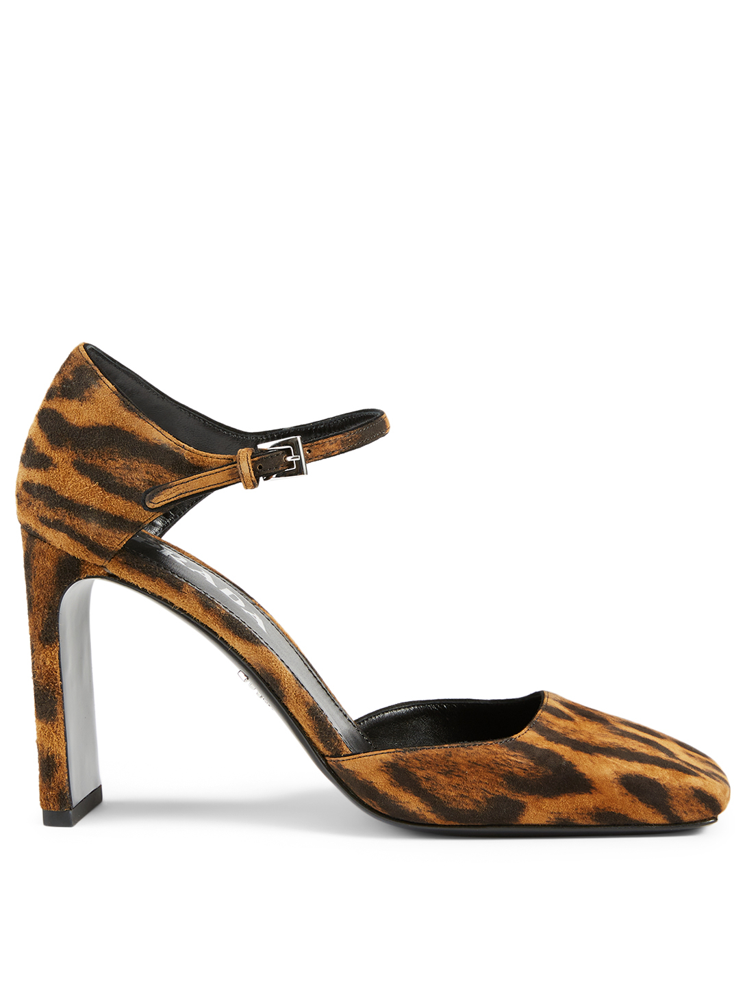 PRADA Suede Leather Mary Jane Pumps In Leopard Print Women's Brown