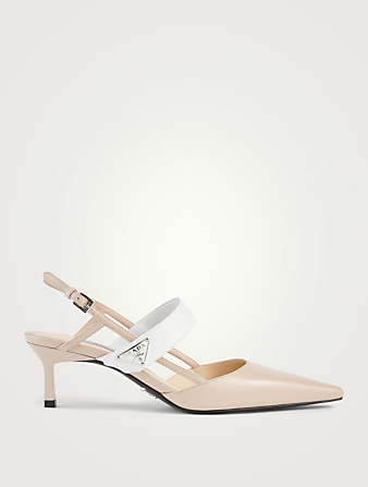 PRADA Leather Logo Slingback Pumps Women's Neutral