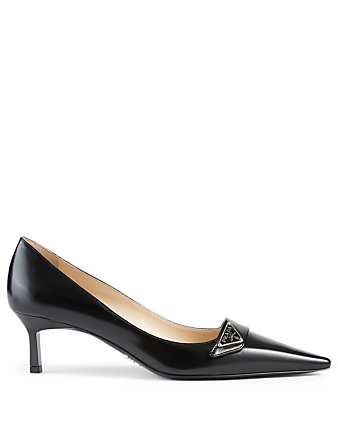 PRADA Leather Logo Pumps Women's Black