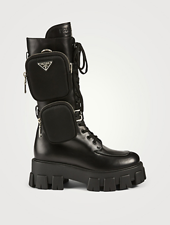 PRADA Monolith Leather Platform Combat Boots With Nylon Pouches Women's Black