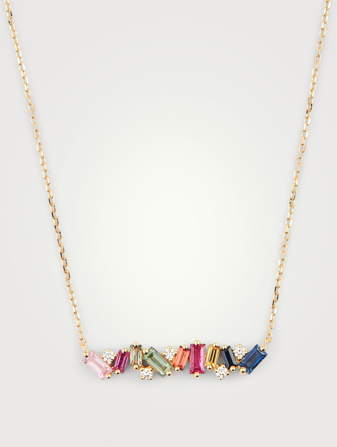 SUZANNE KALAN Rainbow Fireworks 18K Gold Bar Necklace With Diamonds And Sapphires Women's Metallic