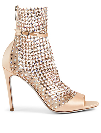 RENE CAOVILLA Galaxia 105 Satin And Crystal-Net Heeled Sandals Women's Beige