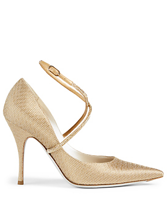 RENE CAOVILLA X Strass Metallic Satin Pumps Women's Metallic