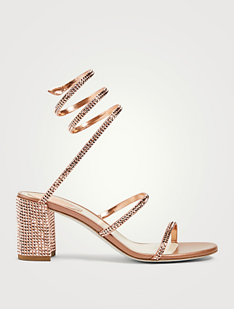 RENE CAOVILLA Cleo 65 Crystal Satin Coil Heeled Sandals Women's Pink