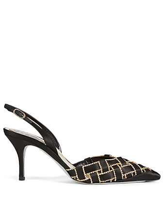 RENE CAOVILLA 75mm Satin Weave with Crystals Slingback Pumps Women's Black