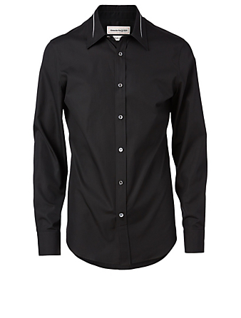ALEXANDER MCQUEEN Cotton Slim-Fit Shirt With Slashed Detail Men's Black