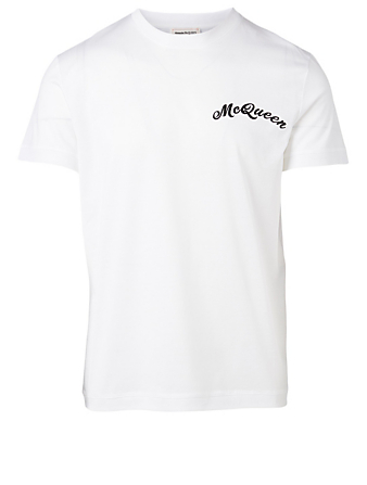 ALEXANDER MCQUEEN Cotton T-Shirt With Logo Embroidery Men's White
