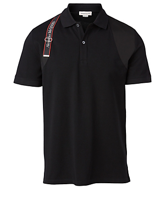 ALEXANDER MCQUEEN Organic Cotton Polo With Harness Men's Black
