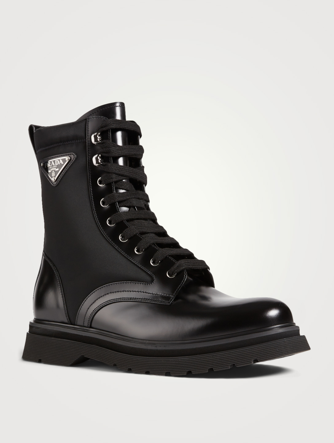 PRADA Leather And Nylon Combat Boots Men's Black