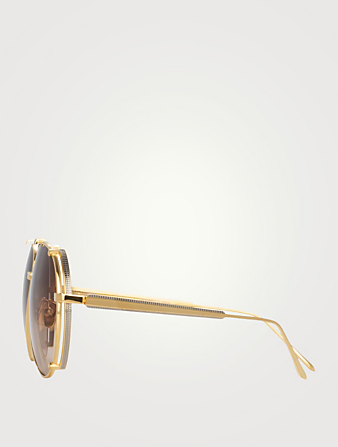 LINDA FARROW Newman Aviator Sunglasses Women's Metallic