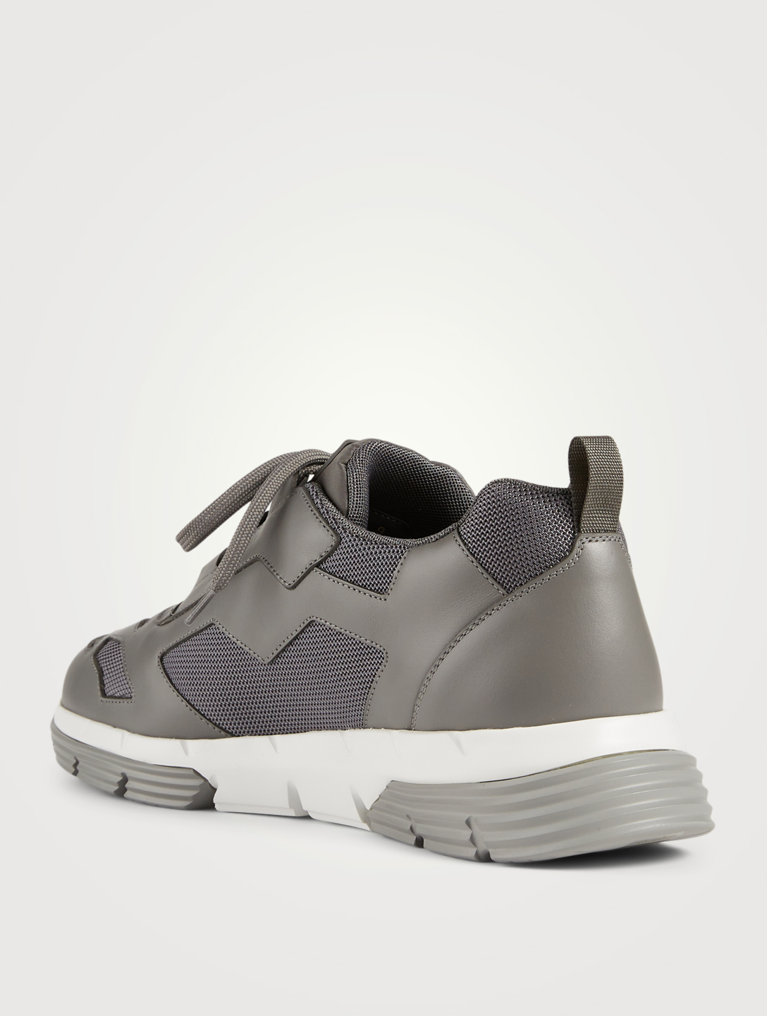 PRADA Twist Technical Fabric And Leather Sneakers Men's Grey