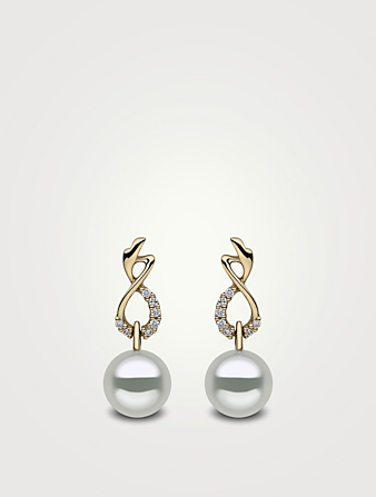 YOKO LONDON 18K Gold Australian South Sea Pearl Earrings With Diamonds Women's Metallic