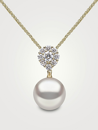 YOKO LONDON 18K Gold Pendant Necklace With Pearl And Diamonds Women's Metallic