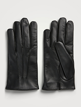 MARIO PORTOLANO Leather Smartphone Gloves With Cashmere Lining Men's Black