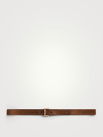 SAINT LAURENT YSL Monogram Leather Logo Belt Men's Brown